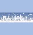paper cut landmarks travel world background vector image vector image