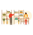 pot home plants and woman planter gardening urban vector image vector image