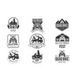 quad bike rental service black and white emblems vector image vector image
