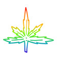 rainbow gradient line drawing cartoon marijuana vector image vector image
