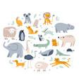 scandinavian animals cute childish fox elephant vector image
