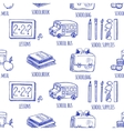 School tools sketch icons seamless pattern vector image