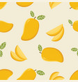 seamless pattern with cartoon mango vector image