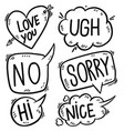 set hand drawn comic style speech bubbles vector image vector image
