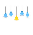 set lightbulb with one unique idea vector image vector image