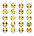 set of cute lovely kawaii emoticon sticker vector image vector image