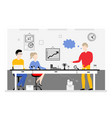 team work in office banner - busines meeting of vector image