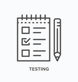 testing line icon outline vector image
