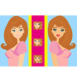 The girl does makeup vector image