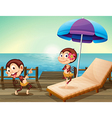Two monkeys at the wooden bridge vector image vector image