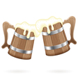 Two Wooden Mugs with Beer vector image vector image