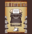 vintage colored writer poster vector image vector image