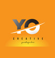 yo y o letter modern logo design with yellow vector image vector image