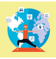young man practicing online exercise vector image vector image