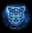 abstract polygonal tirangle animal cheetah neon vector image