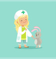 adorable baby girl doctor holding by hand her vector image