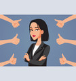 asian business woman receiving thumbs up