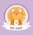 baby shower cute lion cartoon animal card vector image vector image