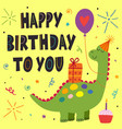 birthday card with cute dinosaur vector image vector image