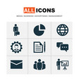 business icons set with circle graph manager vector image