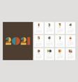 calendar 2021 design template decorative with vector image