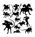 cerberus ancient creature mythology silhouettes vector image