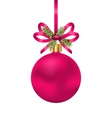 Christmas Pink Ball with Bow Ribbon and Fir Twigs vector image vector image