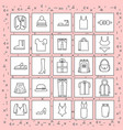 clothes items set of icons thin line on abstract vector image vector image