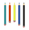 colored wood pencils various length on white vector image vector image