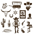 Cowboy Black White Icons Set vector image