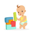 cute bastanding and playing with toy blocks vector image