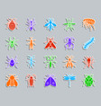 danger insect patch sticker icons set vector image vector image