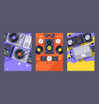 dj club party banner nightclub music equipment vector image