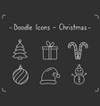 doodle christmas icons vector image vector image
