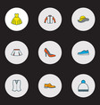 dress icons colored line set with boots waistcoat vector image vector image
