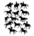Equestrian Sports and Horse Set Silhouette vector image vector image
