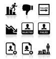 Failure rejected man icons set vector image vector image