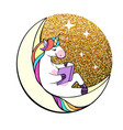 fantasy unicorn reading book on the moon vector image vector image