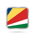 flag of seychelles metallic gray square button vector image vector image