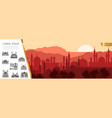 flat arab city silhouette concept vector image