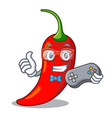 gamer hot chili pepper on cartoon table vector image vector image
