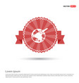 globe icon - red ribbon banner vector image