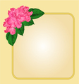 Golden frame with rhododendron greeting card vector image