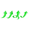 green arrows set 3d web up icons vector image vector image