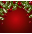 Green fir branches with red balls Christmas vector image vector image