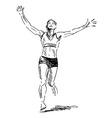 Hand sketch winning runner vector image vector image