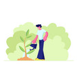 happy teenager young man character watering green vector image