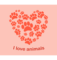 Heart animals footprints vector image vector image
