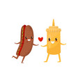 hot dog and mustard are friends forever fast food vector image