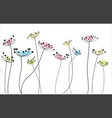 ink drawing wild flowers vector image vector image